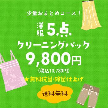 少量おまとめコース! 洋服5点クリーニングパック 8,800円(税別)【送料無料】